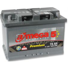 Аккумулятор   74Ah-12v AMEGA PREMIUM(276x175x190),L,EN760