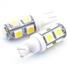 Лампа LED б/ц  габарит и панель приборов T10 9SMD  W5W 12V WHITE  <TEMPEST>