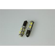 Лампа LED  габарит, посветка панели приборов T8-03 9SMD (size 5050) T4W (BA9s)  белый 24V <TEMPEST>
